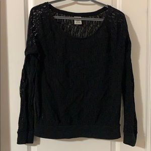 PINK black lace long sleeve size M